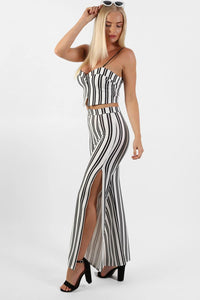 Monochrome Stripe Side Split Wide Leg Trousers in Ivory White 4