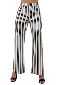 Monochrome Stripe Side Split Wide Leg Trousers in Ivory White 5