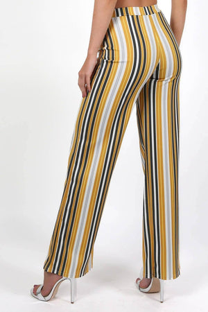 Multi Stripe High Waist Wide Leg Trousers in Mustard Yellow 1
