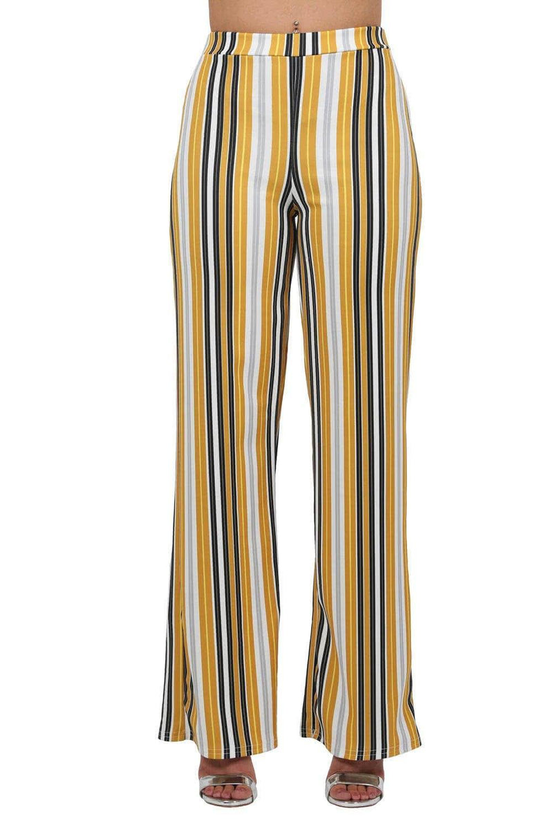 Multi Stripe High Waist Wide Leg Trousers in Mustard Yellow 3