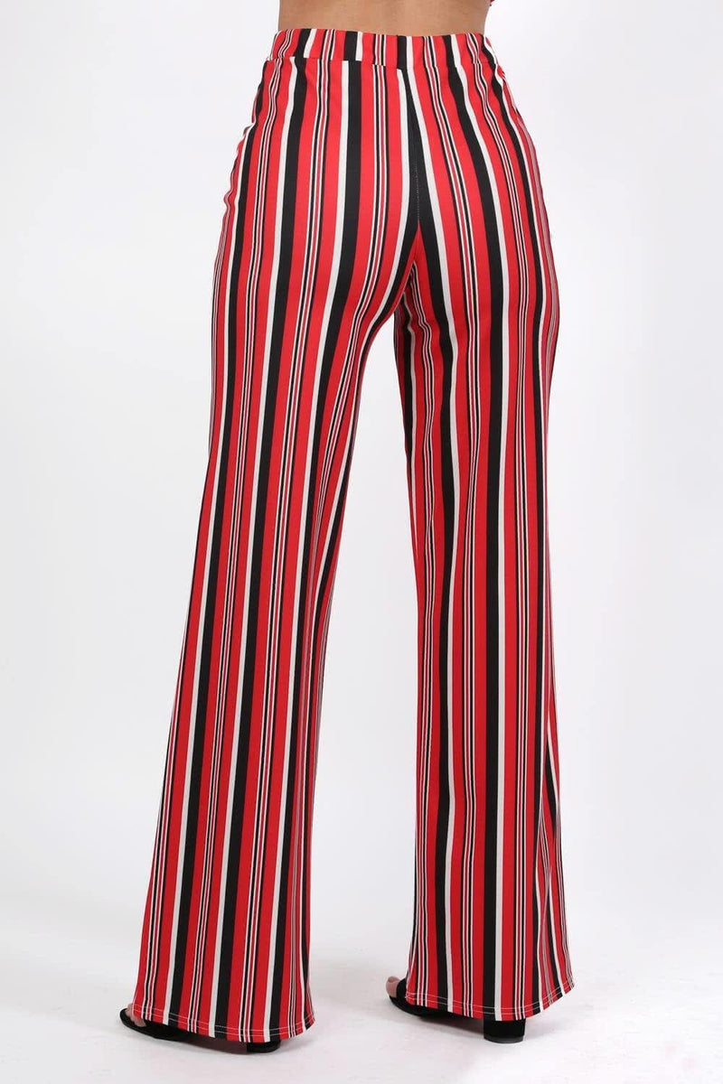 Multi Stripe High Waist Wide Leg Trousers in Red 1