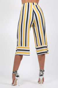 Stripe Culotte Trousers in Mustard Yellow 1