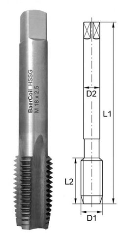 M2.5 x 0.45 BaerCoil Bottoming Tap
