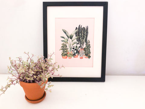 "Watercolor ""Plants in pots"" on pink background - 8.5 x 11"" print"