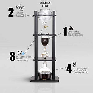 Yama Glass YAMCDM8CBR, Brown Frame Cold Brew Coffee Maker, 25 Cup
