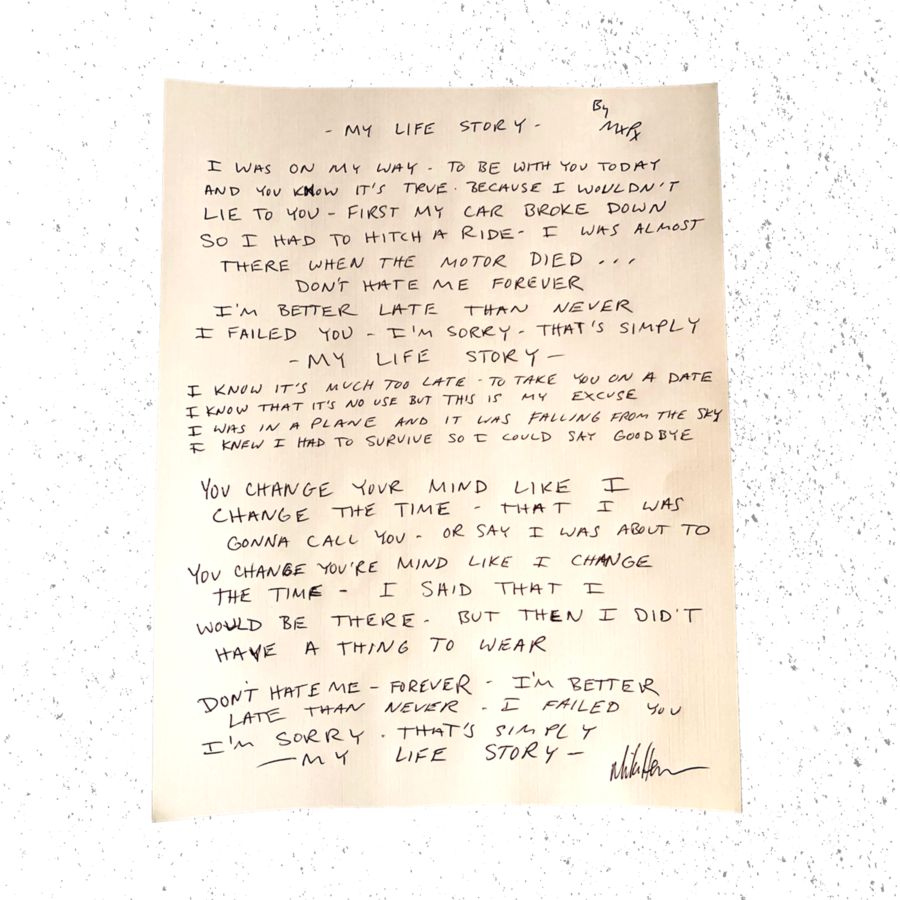 LYRIC SHEETS - HANDWRITTEN BY MIKE HERRERA