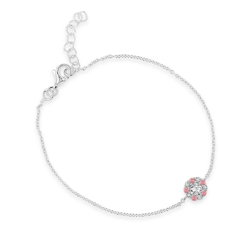 Little Sparkles Ultra-Slender Halo Pendant Bracelet with Rose Pink/Diamond Sparkles