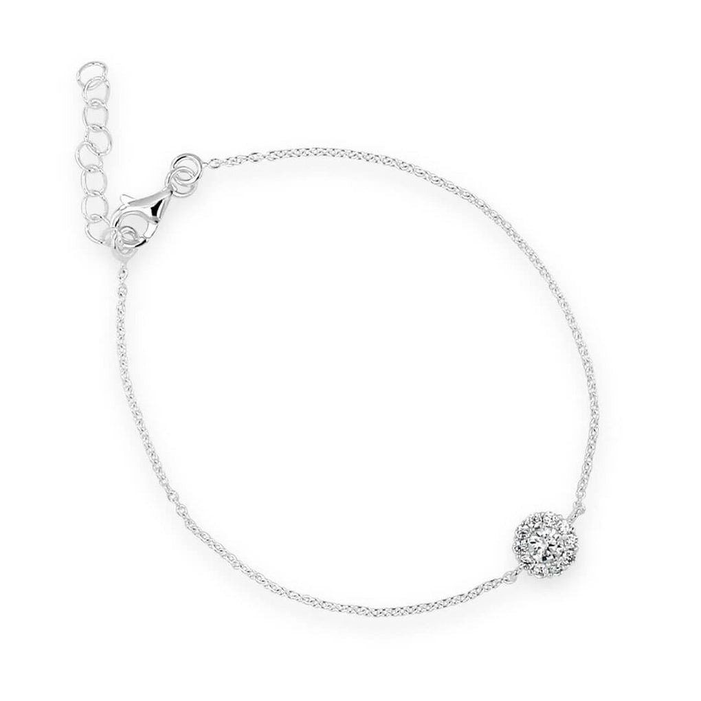 Little Sparkles Ultra-slender Halo Pendant Bracelet in Sterling Silver