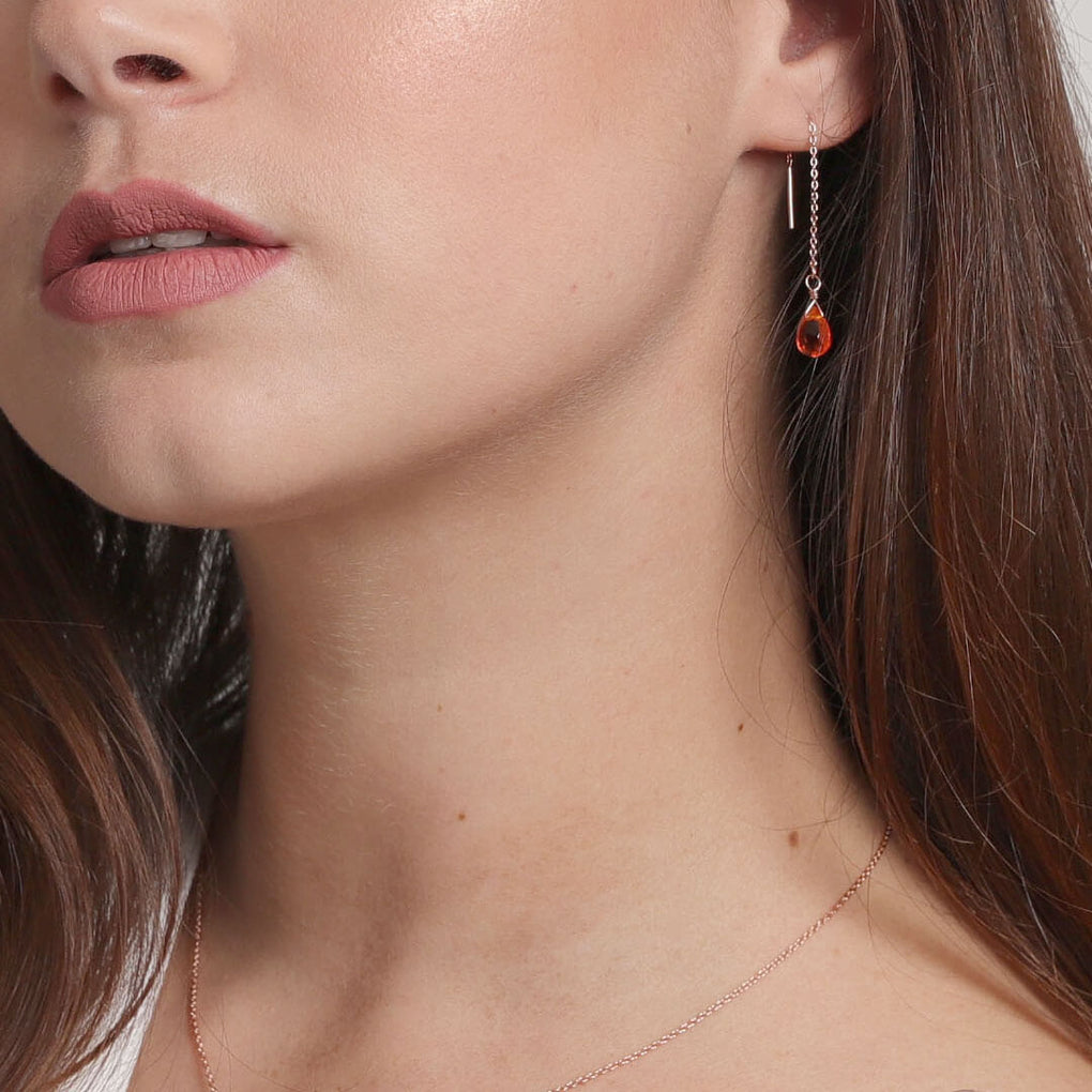 Briolette Drop Threader Earrings