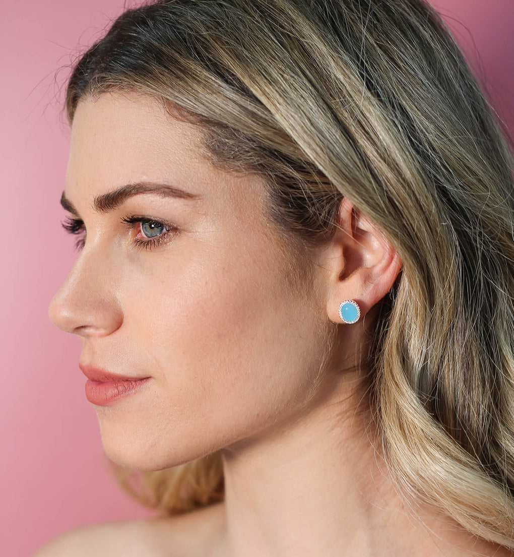 Glamour Cabochon Halo Studs | Little Sparkles Jewelry