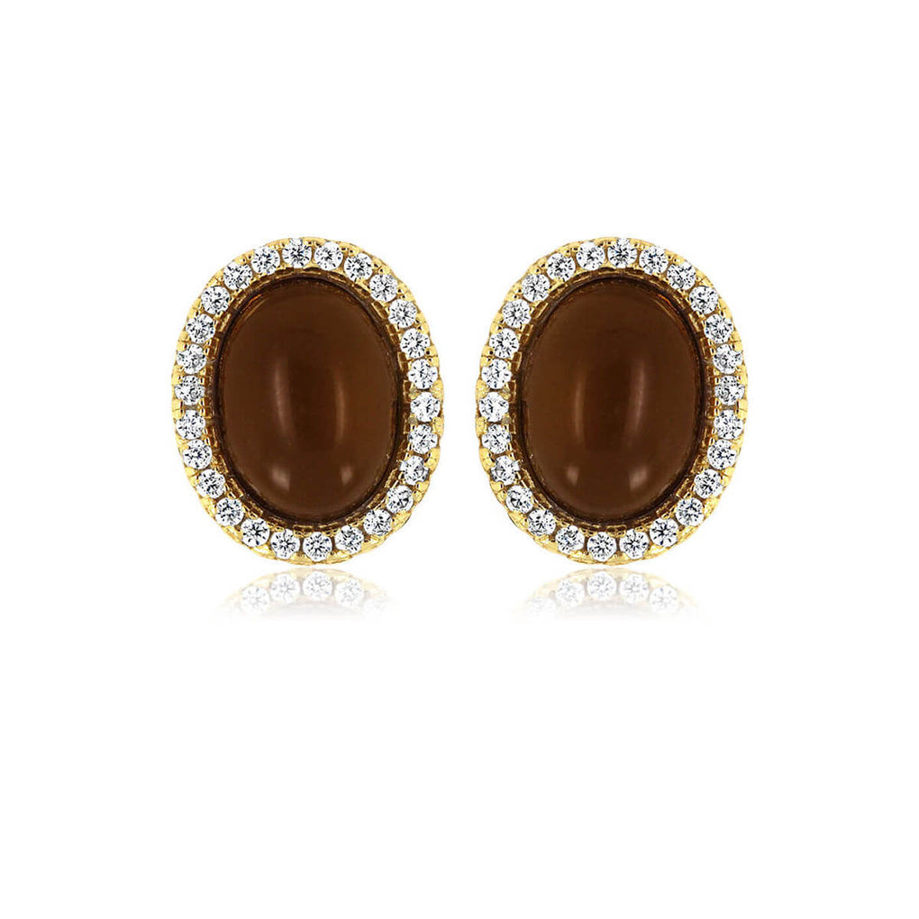 Glamour Cabochon Halo Studs