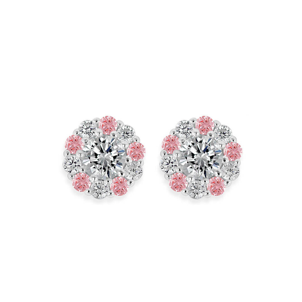 Pure Shine Halo Stud Earrings with Alternating Rose Pink stones