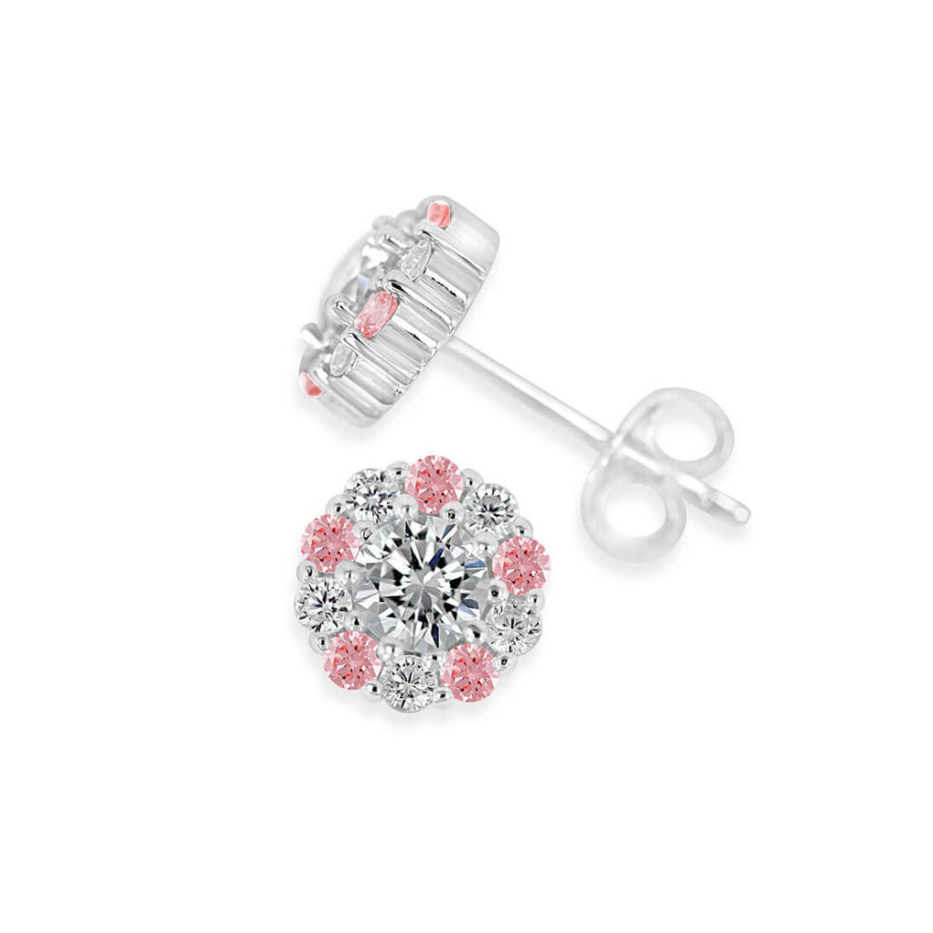 Alternating pink and white halo stud earrings with butterfly backs