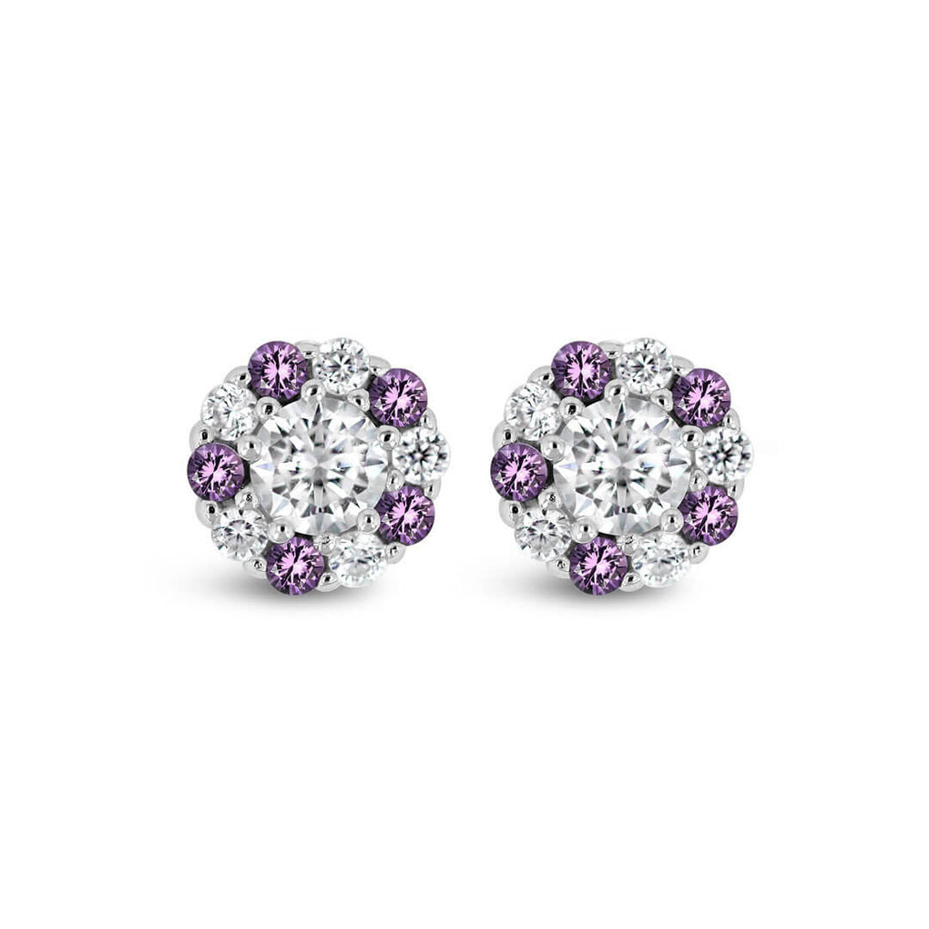 Pure Shine Halo Stud Earrings with Alternating Purple stones