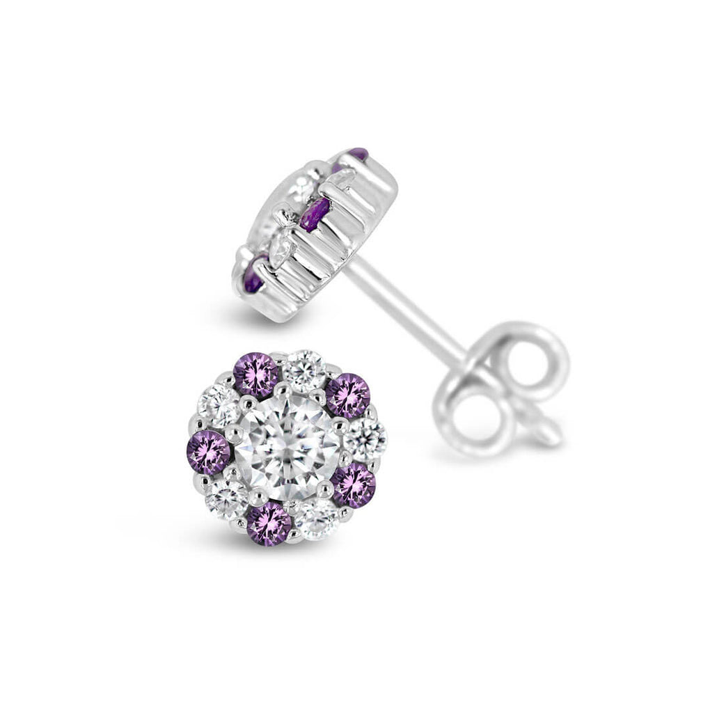 Alternating purple and white halo stud earrings with butterfly backs
