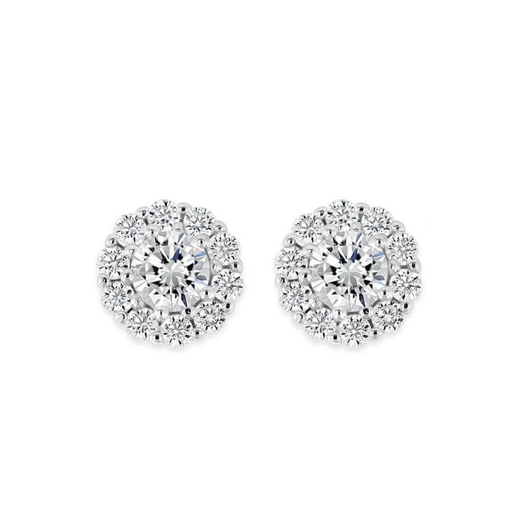 Pure Shine Halo Stud Earrings - front