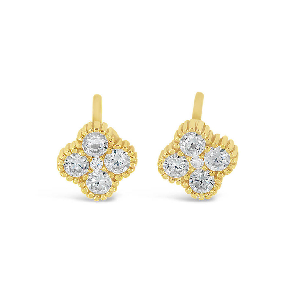 Four Leaf Clover Studs in Yellow Gold over Sterling Silver