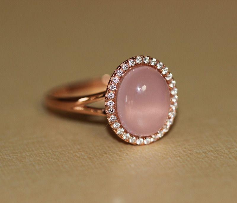 Glamour Cabochon Halo Split Ring | Rose Gold Rings