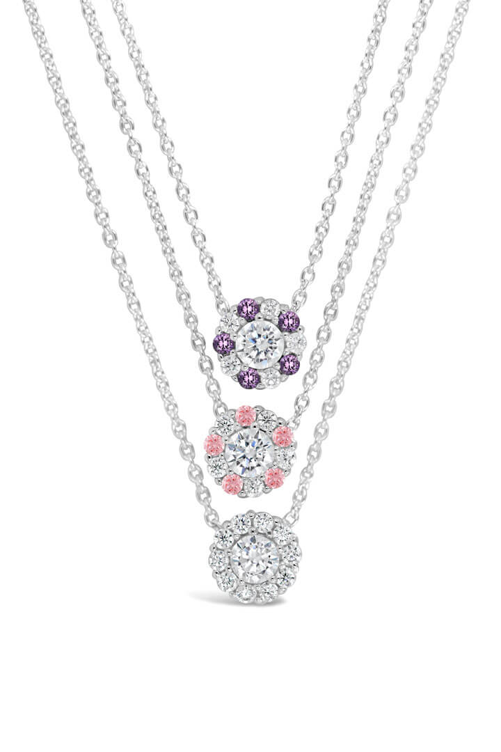 Trio of Pure Shine Halo Pendant Necklaces in Purple, Pink and Diamond stone colors