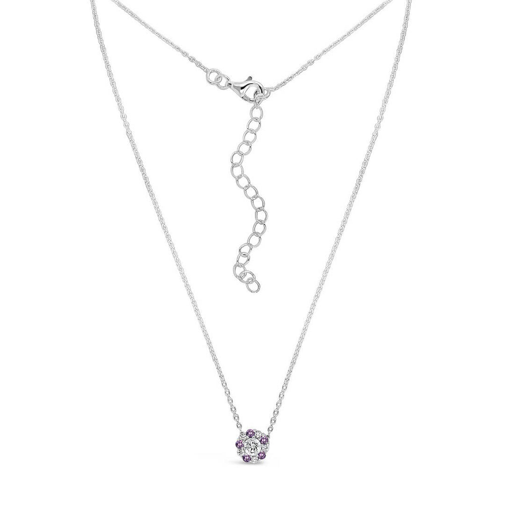 Pure Shine Halo Pendant Necklace - Purple & Diamond Sparkles