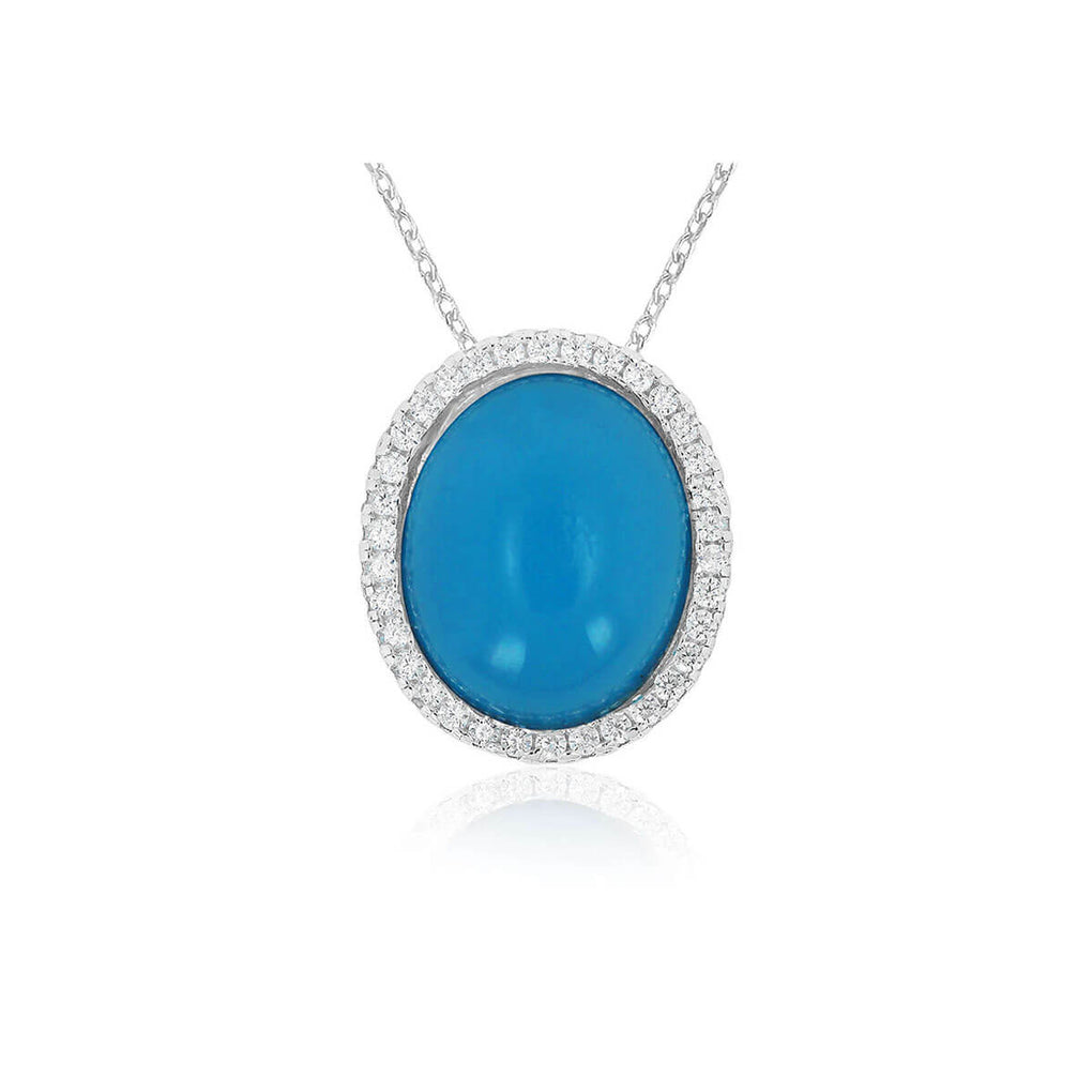 Glamour Cabochon Halo Pendant Necklace | Little Sparkles