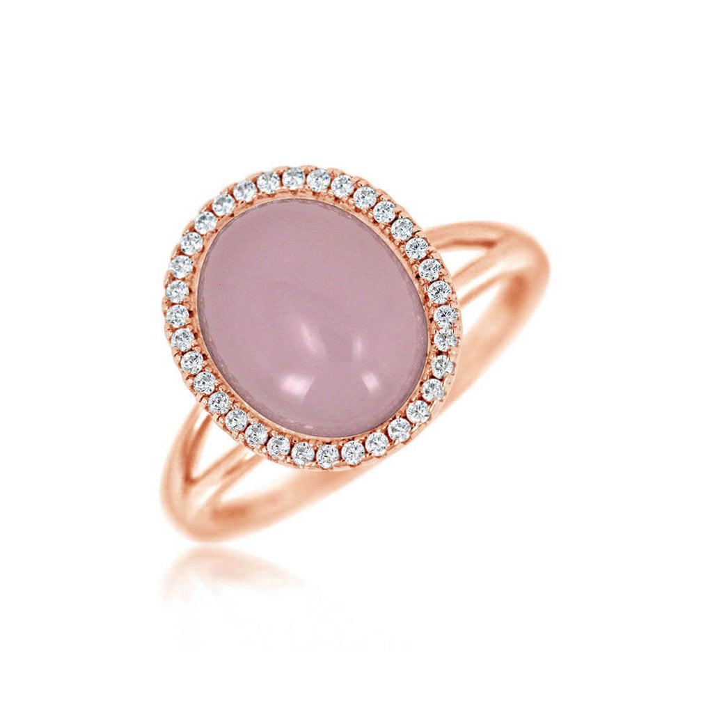 Glamour Cabochon Halo Split Ring | Little Sparkles Jewelry