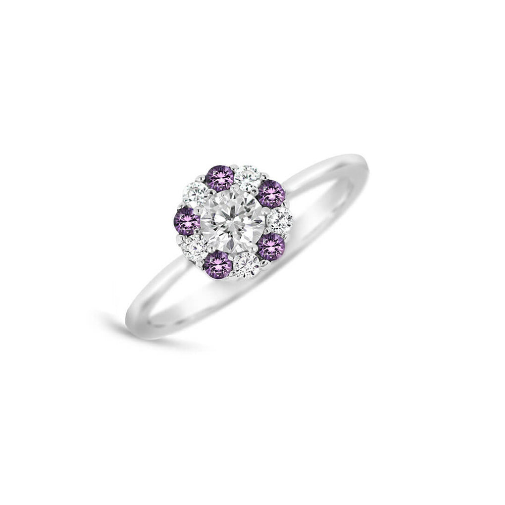 Pure Shine Halo Ring - Purple & Diamond Sparkles