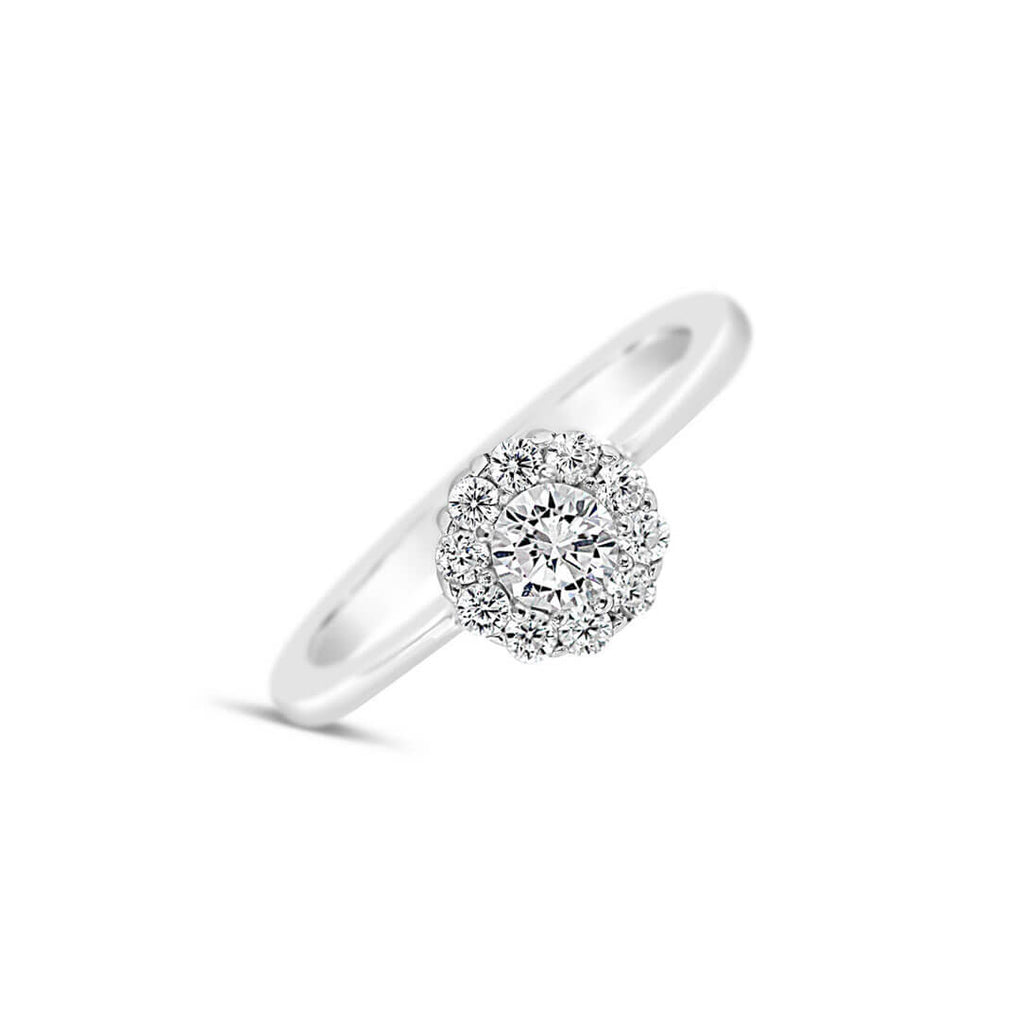 Pure Shine Halo Ring with Diamond Sparkles in Sterling Silver