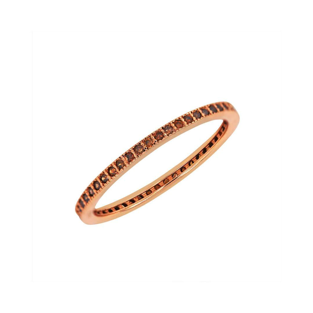 Thin Eternity Stacking Band with Chocolate Sparkles