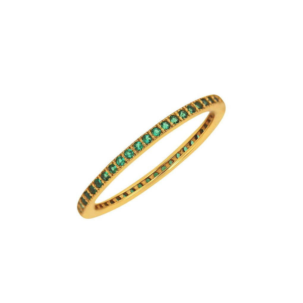 Thin Eternity Stacking Band in Yellow Gold over Sterling with Green Gems