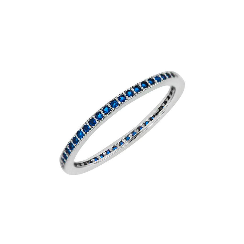 Eternity Stacking Band in Sterling Silver with Sapphire Blue Stones