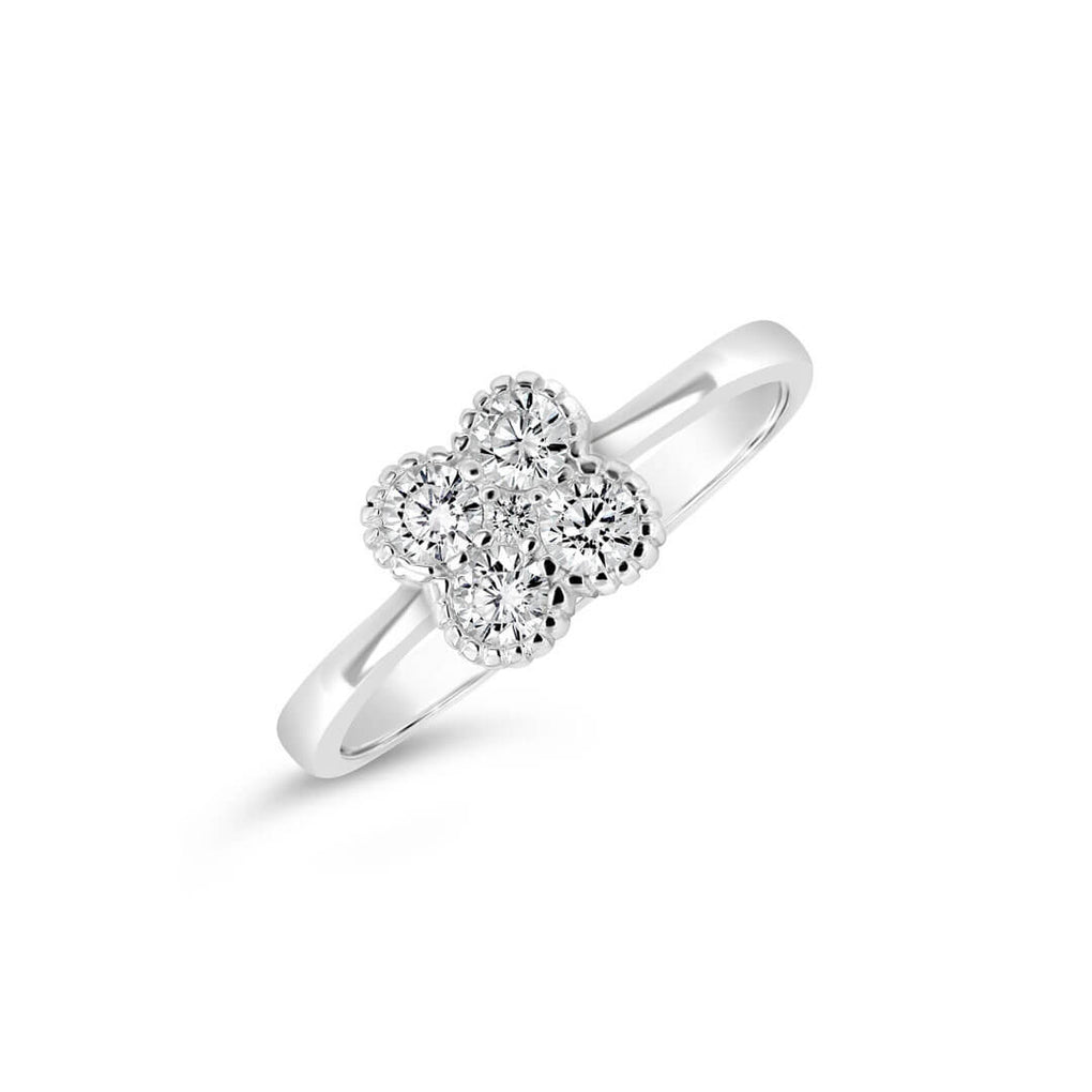 Four Leaf Clover Stackable Ring in sterling silver