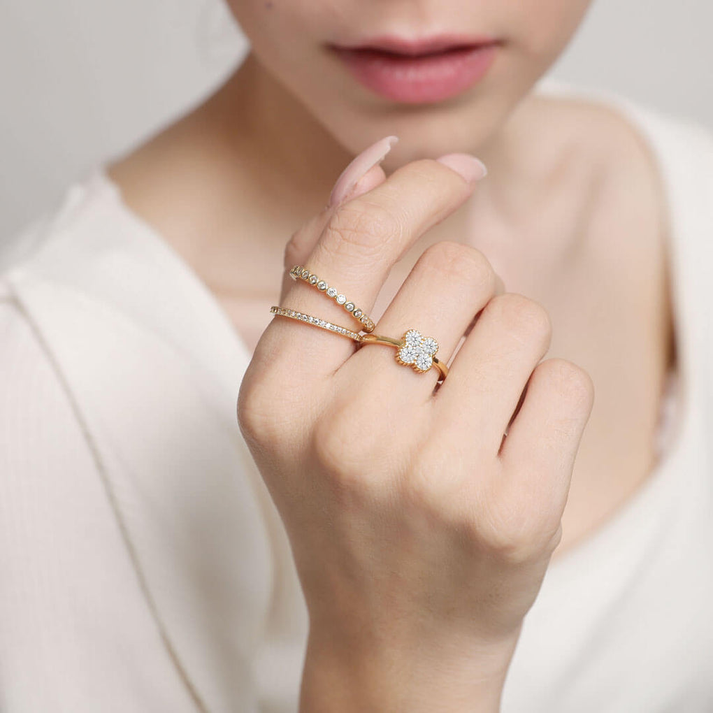 Four Leaf Clover Stackable Ring