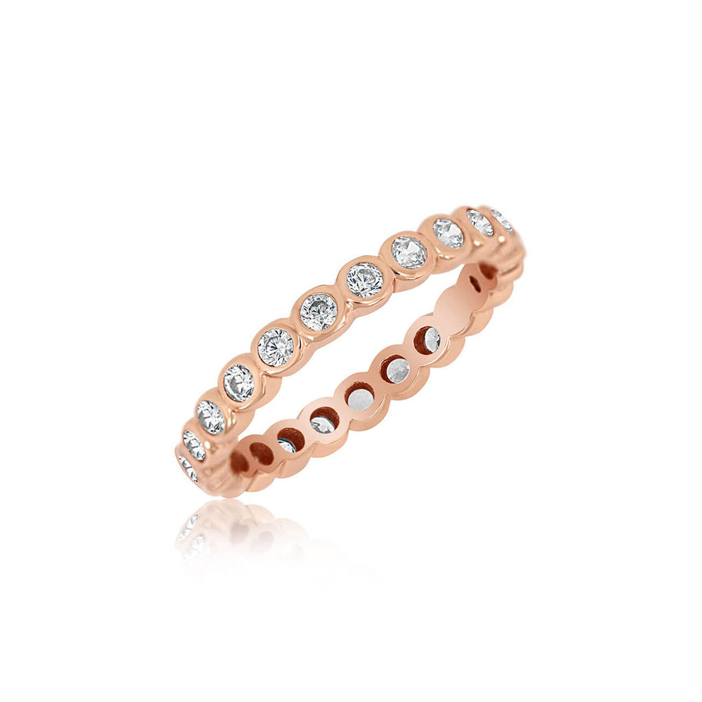 Bezel Set Eternity Band in rose gold over sterling silver | Little Sparkles