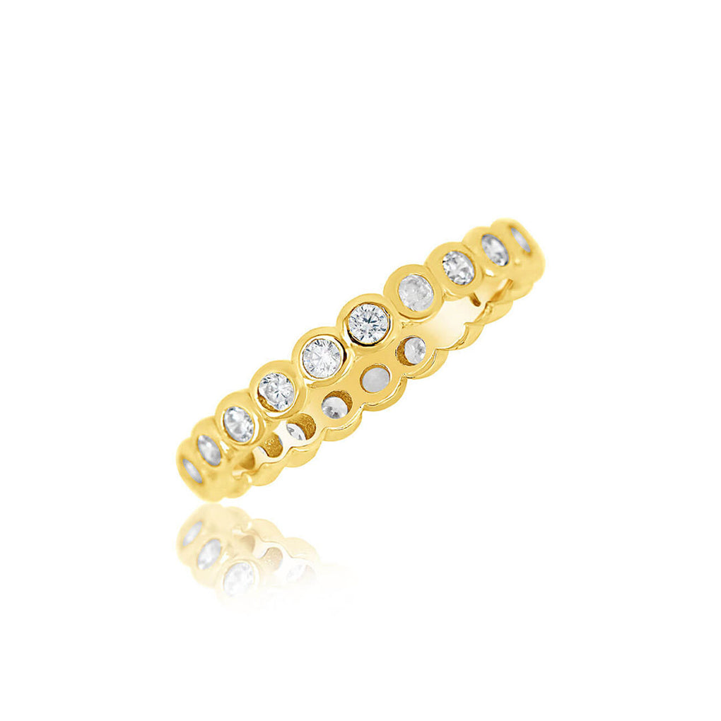 Bezel Set Eternity Band in yellow gold over sterling silver | Little Sparkles