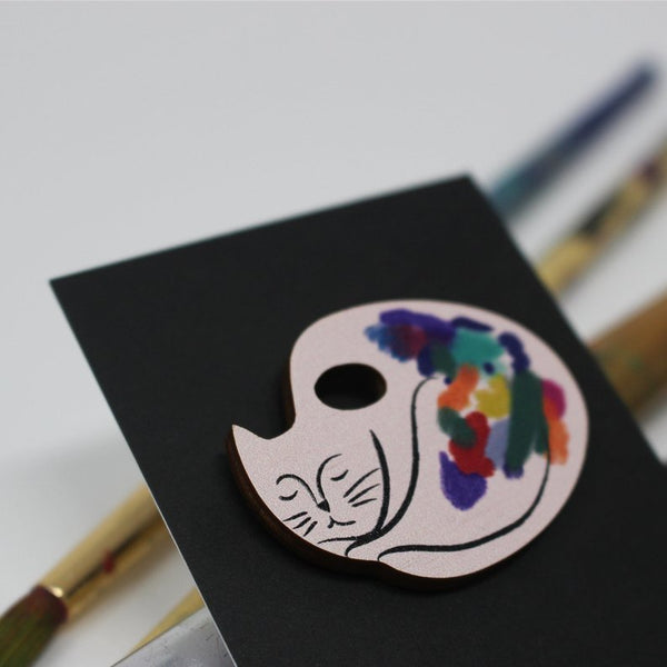 Cat Artist Plywood Pin