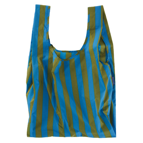Cyan Stripe Reusable Shopping Bag