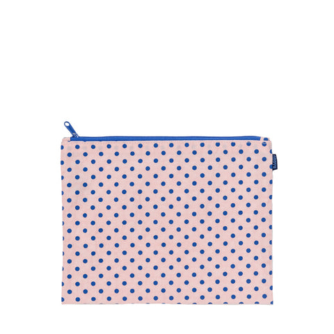 Flat Zip Medium Pouch Blush Dot