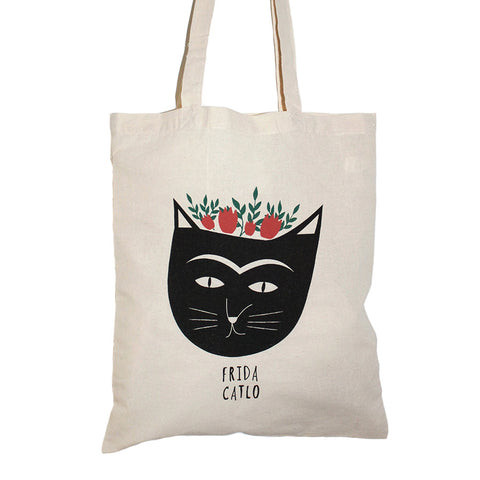 Frida Catlo Ecru Tote Bag