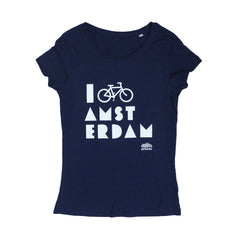 I Bike Amsterdam Dark Blue Women T-shirt