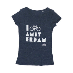 I Bike Amsterdam Melange Denim Blue Women T-shirt