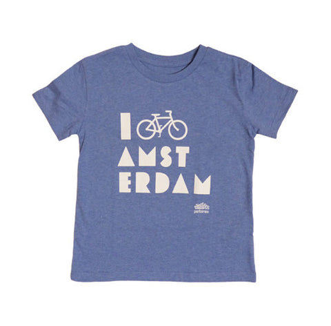 I Bike Amsterdam Melange Blue Kid T-shirt