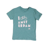 I Bike Amsterdam Melange Green Kid T-shirt