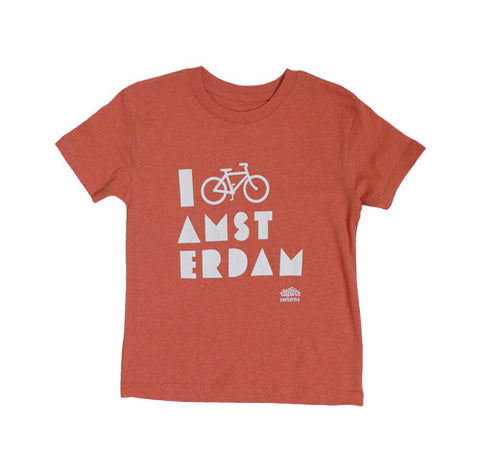 I Bike Amsterdam Melange Red Kid T-shirt