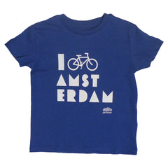 I Bike Amsterdam Melange Royal Blue Kid T-shirt