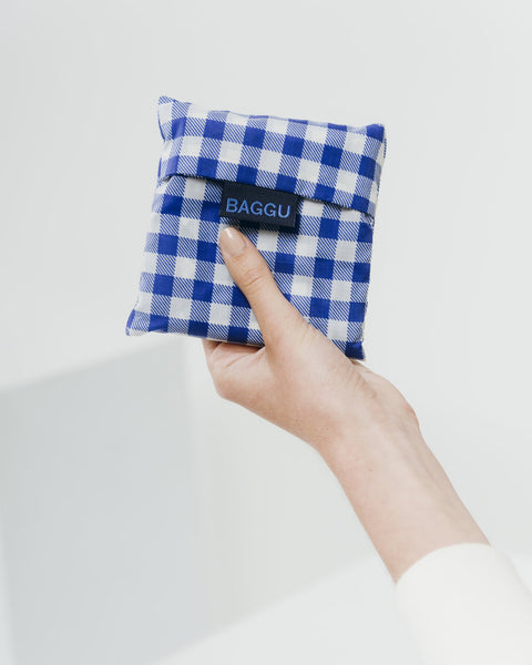 Blue Gingham Reusable Shopping Bag