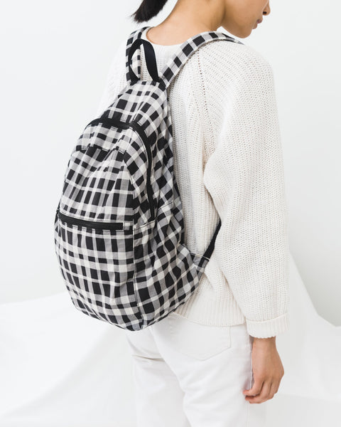 Foldable Backpack Plaid