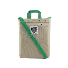 Cross Over Medium Shoulder Bag Cream (Green Strap)