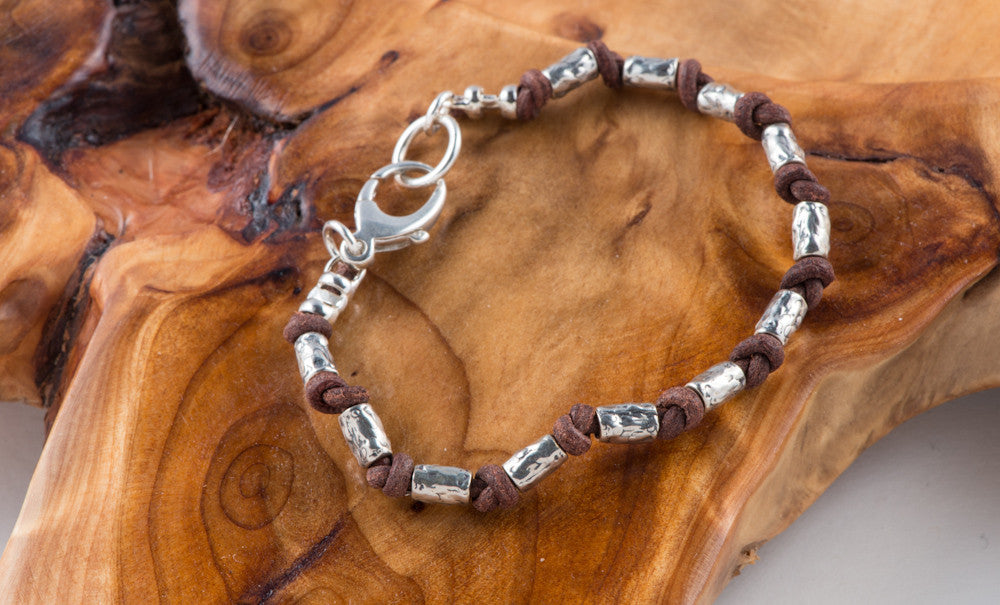 Sterling Silver Tubes and Leather Bracelet