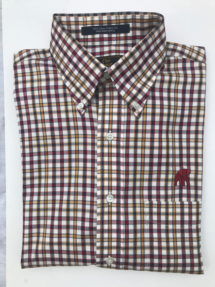 The Shirt Shop Wrinkle Free Crimson and Gold Check with Logo